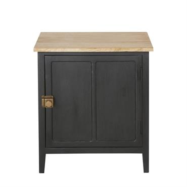 Table de chevet 1 porte en manguier massif gris ardoise Cezanne