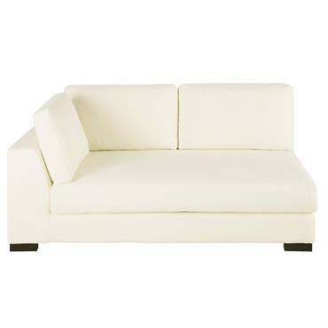 Accoudoir gauche de canapé convertible en coton ivoire Terence