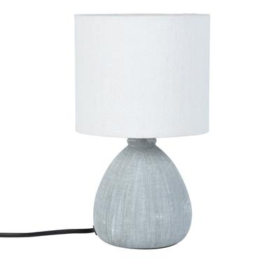 Lampe en céramique striée bleue et abat-jour blanc