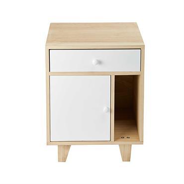 Table de chevet 1 porte 1 tiroir en paulownia blanc Spring