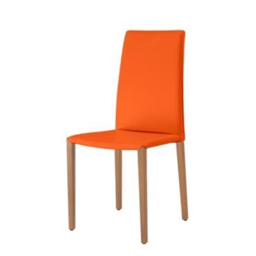 Chaise gainée de cuir avec pieds bois Hauteur : 100 cm Largeur assise : 44 cm Profondeur assise : 40 cm Hauteur assise : 48 cm Fabriquée en France/Cette chaise ...