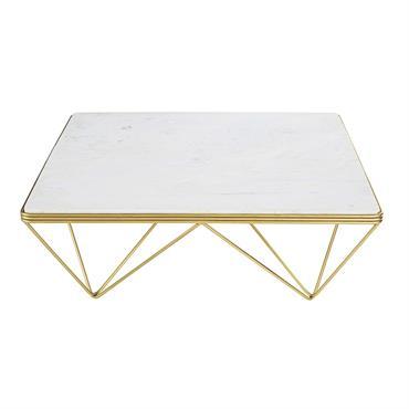Table basse carrée en marbre et métal doré Gatsby