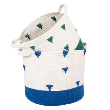 Paniers en coton bleu et vert à motifs
