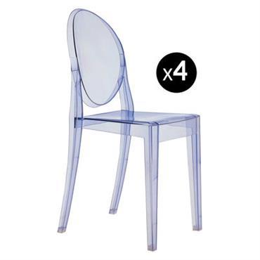 Chaise empilable Kartell Design Bleu ciel Matière plastique L 38 x Prof. 40 cm x H 90 cm - Assise : H 46 cm Ce lot de 4 chaises Victoria ...