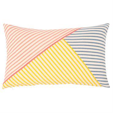 Housse de coussin en coton à rayures colorées 30x50