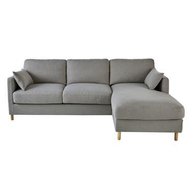 Canapé d'angle droit convertible 5 places gris