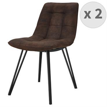LILY-Chaise microfibre vintage café pieds métal noir