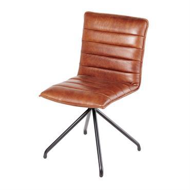 La chaise en cuir marron HARLEY surfe joliment sur le style vintage et la tendance industrielle. Conçue en métal, elle est dotée d'un dossier et d'une assise en cuir marron. ...