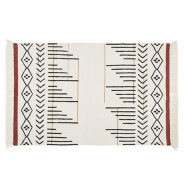 Tapis kilim en laine multicolore à franges 140x200