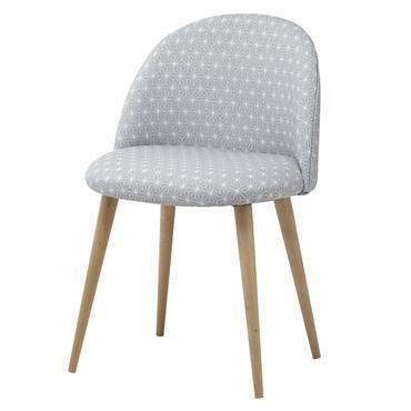 Chaise vintage grise motifs étoiles et bouleau Mauricette