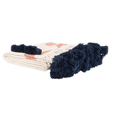 Plaid en coton écru bande rouge et pompons bleus 130x170