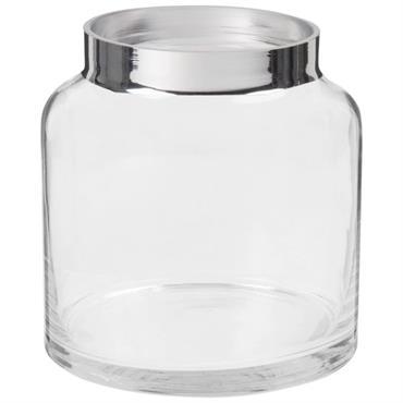 Vase en verre transparent et argenté H13