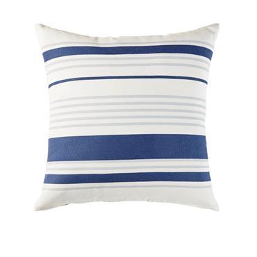 Coussin d'extérieur en coton écru motifs à rayures bleues 45x45
