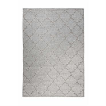 Tapis gris motif oriental beige pour entrée