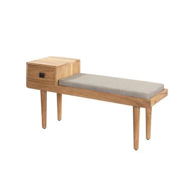 Banquette d'entrée en bois et tissu gris avec tiroir