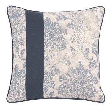 Housse de coussin en coton bleu et blanc à motifs 40x40