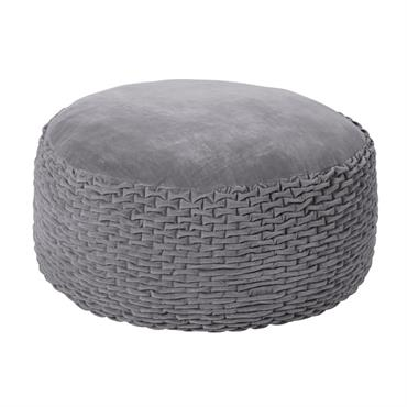 Pouf en coton gris effet velours