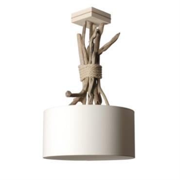 Suspension luminaire en bois flotté écume