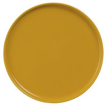 Assiette plate en faïence jaune moutarde