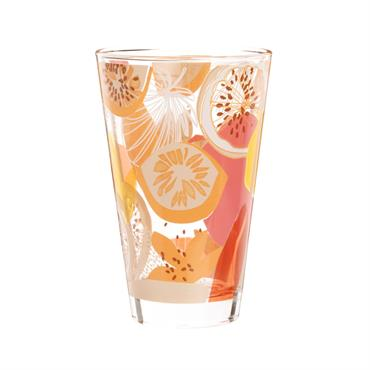 Chope en verre imprimé fruits rose