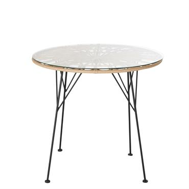 Table de jardin ronde en résine imitation rotin 2 personnes D79 Agatha