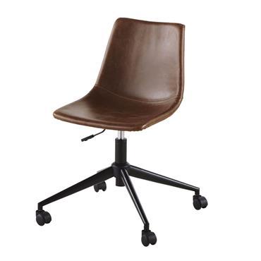 Chaise de bureau à roulettes en suédine marron effet vieilli Rebel