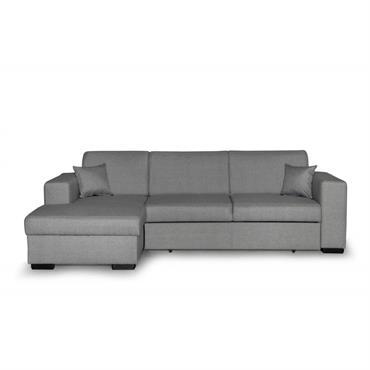 Canapé d'angle gauche convertible en tissu gris clair