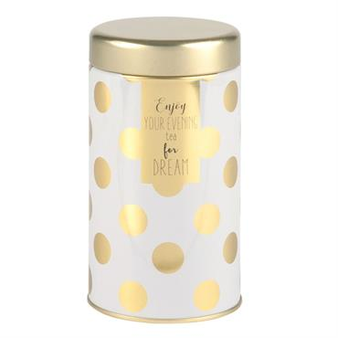 Boîte en métal blanc et doré motifs à pois