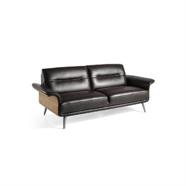 Canapé droit 3 places en cuir chocolat accoudoirs en cuir et bois