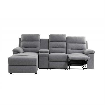 Canapé d'angle gauche de relaxation 3 places avec chargeur sans fil