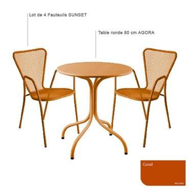 Ensemble table ronde Agora et 4 fauteuils Sunset