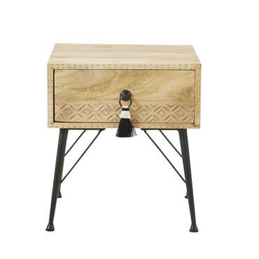 Table de chevet 1 tiroir en manguier massif et métal Iroquois