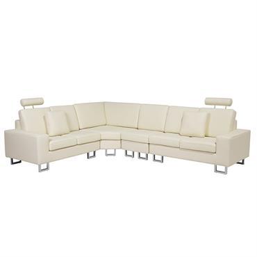 Canapé angle à droite 6 places en cuir beige