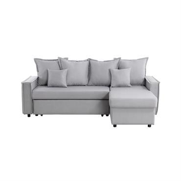 Canapé d'angle convertible réversible avec coffre en tissu gris clair