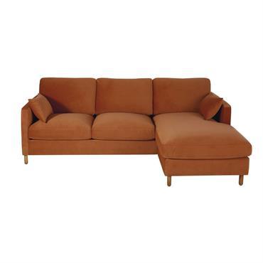 Canapé d'angle droit convertible 5 places en velours orange