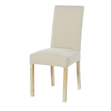 Housse de chaise en velours écru