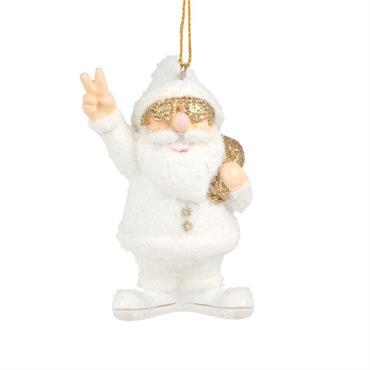 Suspension de Noël Père Noël blanc et doré