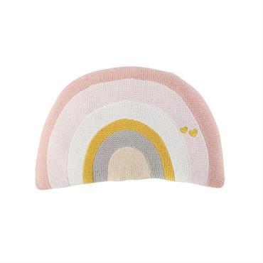 Coussin arc-en-ciel en coton multicolore 18x30