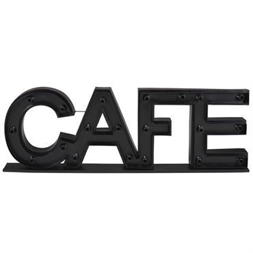 Mot déco lumineuse en métal noir 145x45cm CAFE