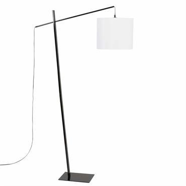 Lampadaire en métal noir et abat-jour en blanc H150