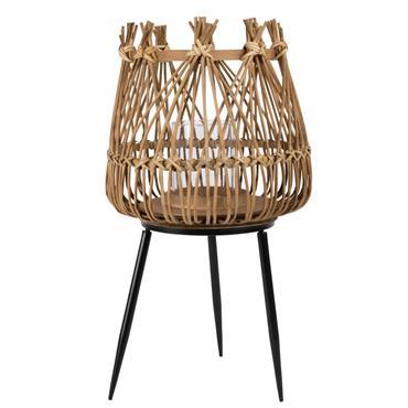 Lanterne en bambou tressé et support en métal