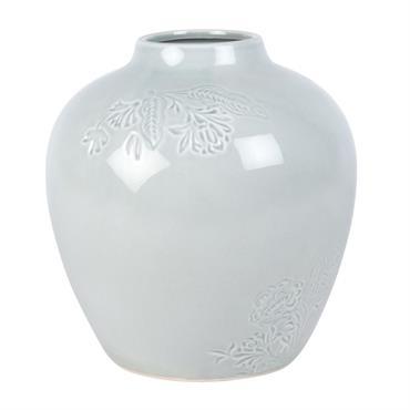 Vase en grès blanc fleurs gravées H21