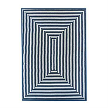 Tapis géométrique design en polypropylène bleu marine 133x190