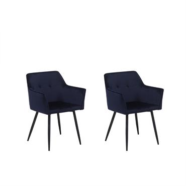 Lot de 2 chaises en velours bleu foncé