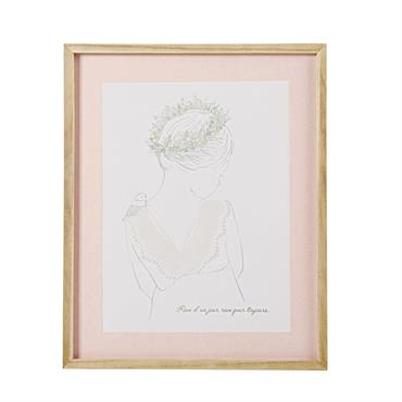 À la recherche d'une illustration poétique pour décorer les murs du petit cocon de votre princesse ? Délicat à souhait, le tableau imprimé en paulownia 42x52 BUCOLIQUE montre une petite ...