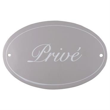 Plaque de porte en métal gris imprimé blanc