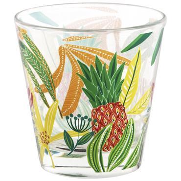 Gobelet en verre motifs ananas et fleurs