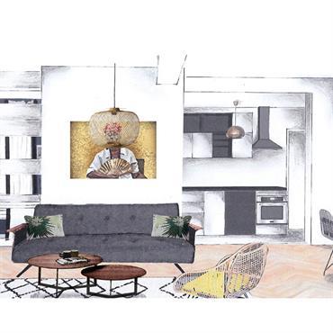La propriétaire souhaitait redécorer le salon en apportant un mélange de styles : Bohème, vintage et ethnique. Le grand couloir ... Domozoom