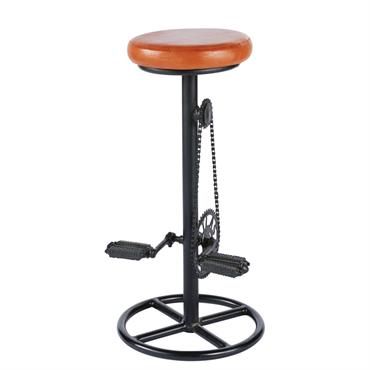 Tabouret de bar indus en cuir cognac et métal noir Bike