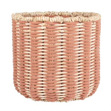 Panier en fibre de maïs rose et blanc
